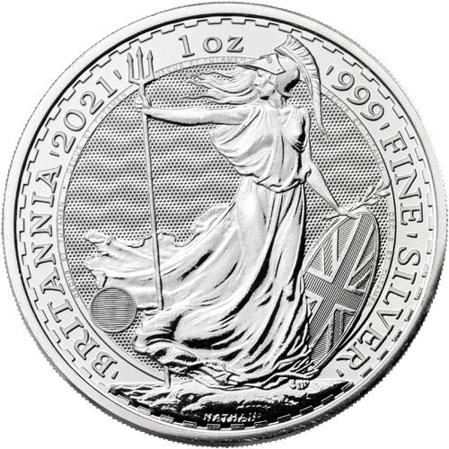 2021 1 oz Silver British Britannia Coins (BU)